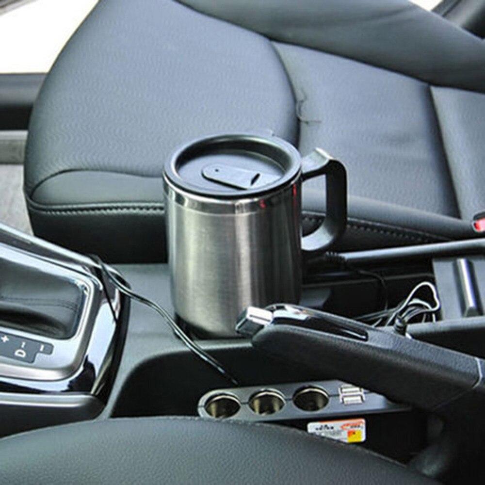 Nuevo coche taza de calefacción 12v taza Hervidor eléctrico coches calentador térmico tazas de agua hirviendo bottel Auto accesorios 500ML + Cable