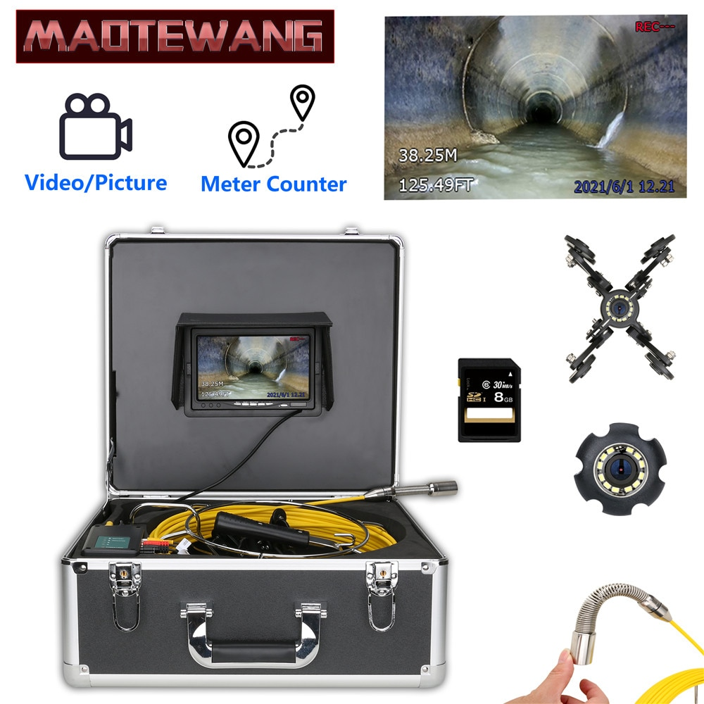 Get 30M 50M Cable with Meter Counter  Sewer Pipe Inspection Camera,Drain Sewer Pipeline Industrial Endoscope DVR Video Recording