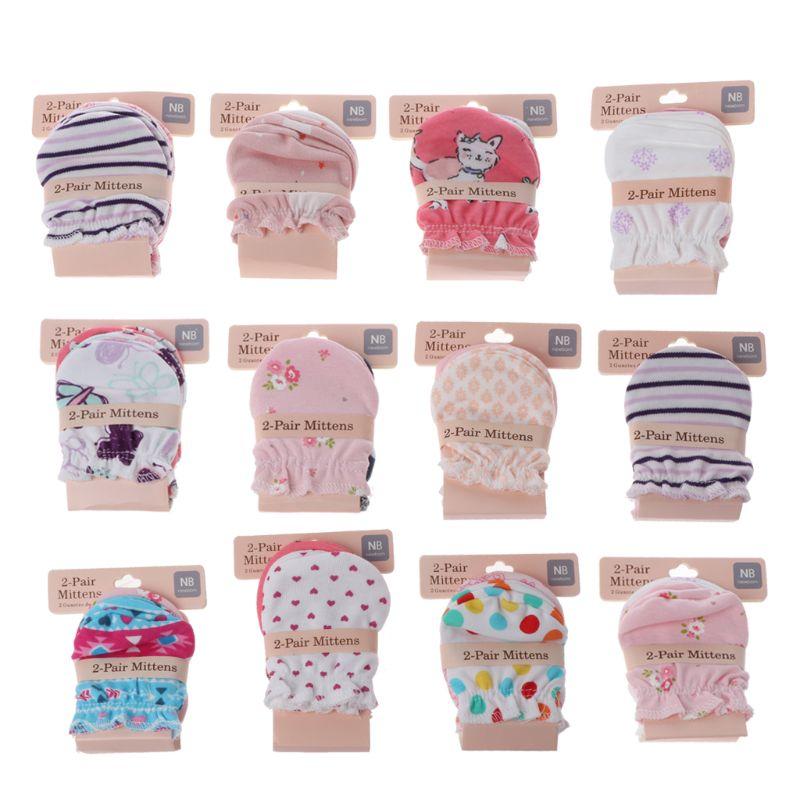 2 paires mode bébé Anti rayures gants nouveau-né Protection visage coton Scratch mitaines C6UF