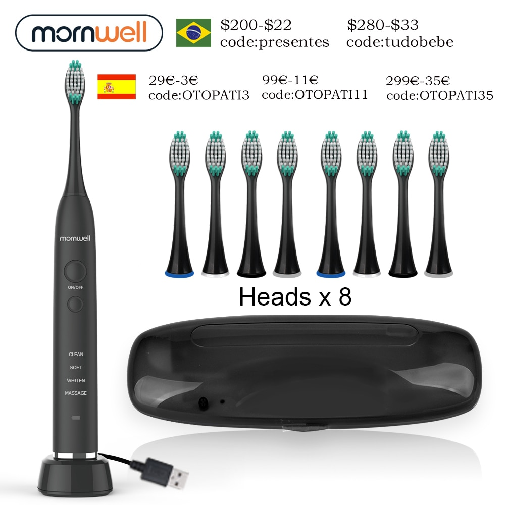electric sonic toothbrush heads Electric Toothbrush USB Inductive Charging Sonic Toothbrush Adults Electric Sonic toothbrush Black 8 Brush Heads & Travel Case