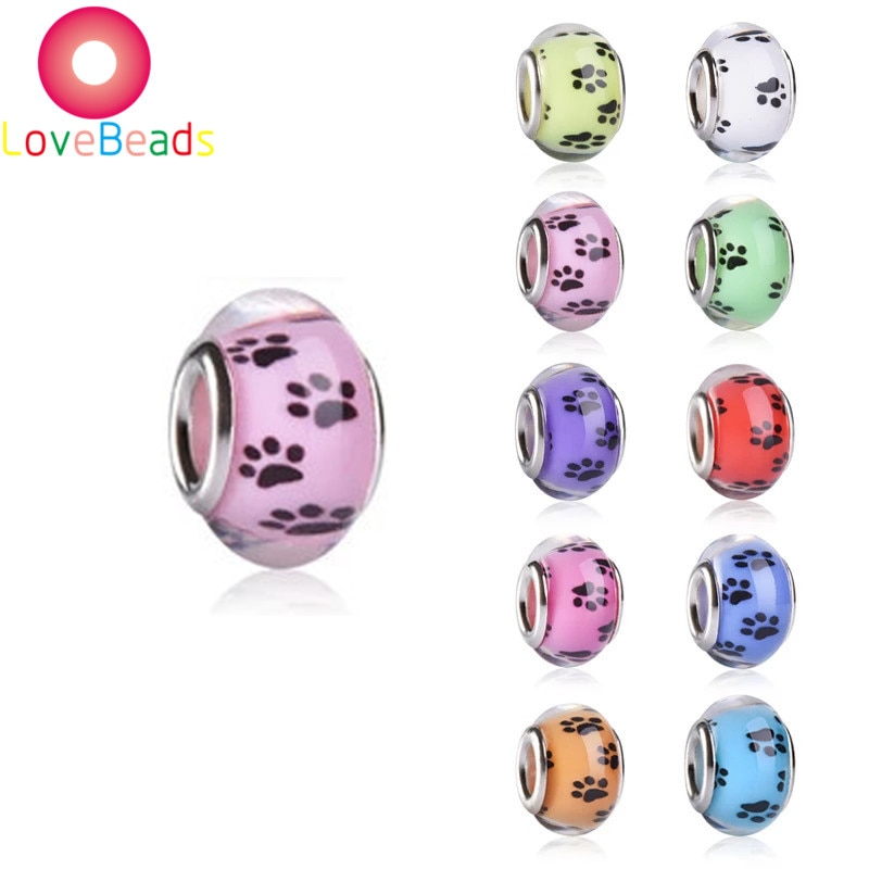 1Dog Paw Print Pet Puppy Footprint European Beads Large Hole Loose Charm Murano Rondelle Bead Fit Pandora Bracelet Jewelry  - buy with discount