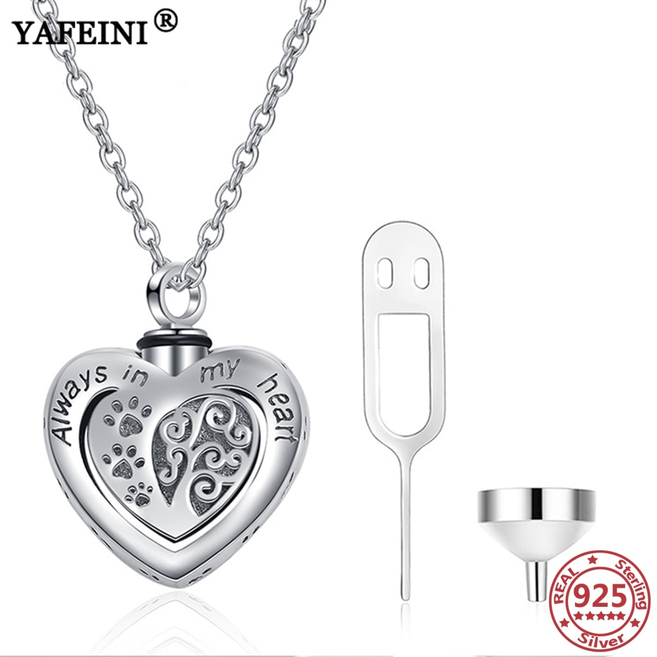 YAFEINI, collar de plata de ley 925 con forma de corazón con urna de pata para cenizas, recuerdo de perro, gato, cenizas de Mascota, ataúd, colgante de cremación, collar de joyería