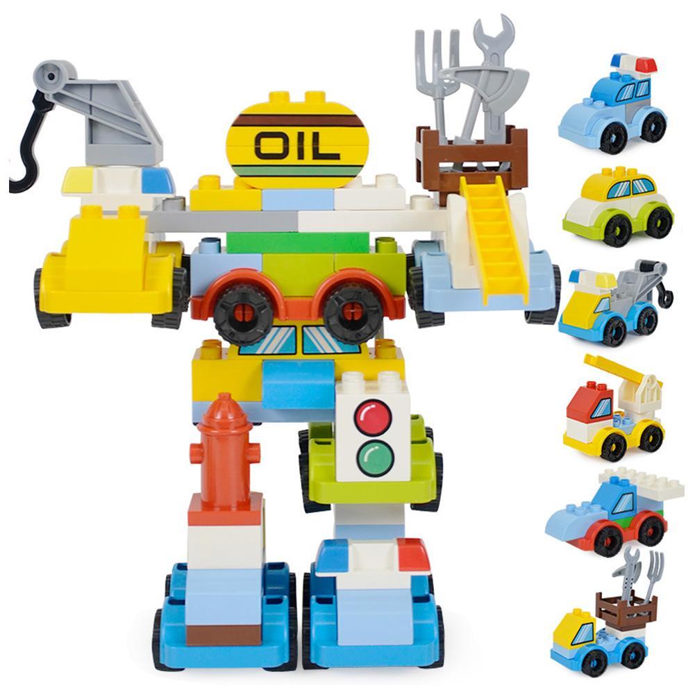 6 en 1 bloques de construcción de ensamblaje de grandes partículas Robot puzles juguetes educativos para niños y niñas