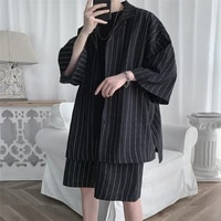 2021 summer men set shirts and shorts lightweight fabric letter striped half sleeve elastic knee length baggy oversize clothing