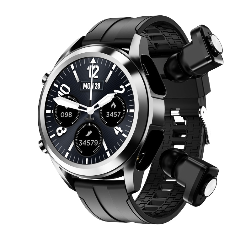 ساعة ذكية 2021 للرجال ساعة ذكية أندرويد Tws 2 في 1 سماعة لاسلكية كومبو بلوتوث مكالمة هاتفية ساعات لهواوي سامسونج PK GT2