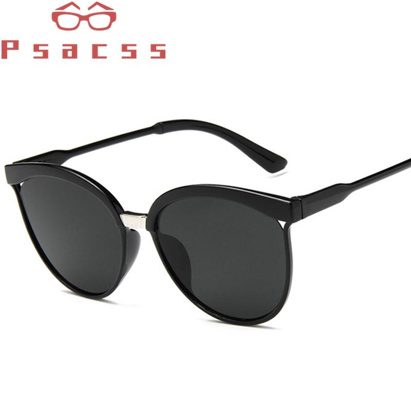 Psacss Vintage Cat Eye Sunglasses Women Reflective Fashion Luxury Plastic Sun Glasses For Shopping G