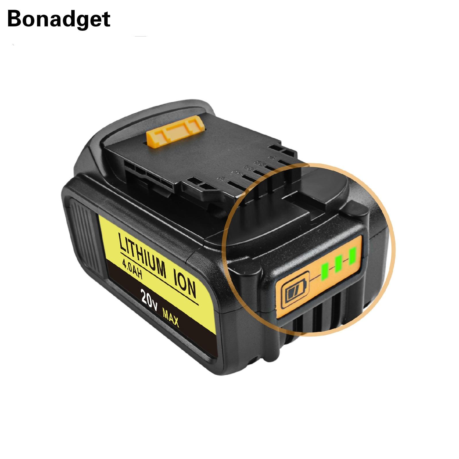Bonadget para DeWalt 20V 4.0Ah DCB200 recargable de DCB181 DCB182 DCB204 DCB101 DCD996 DCF885 batería de herramientas eléctricas