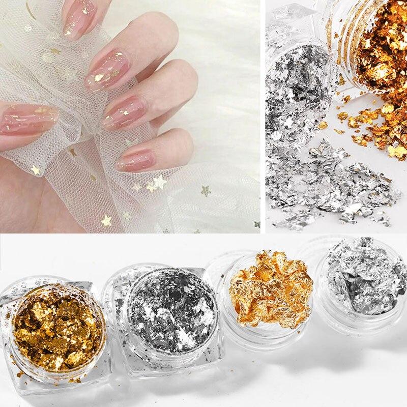 Gold Silver Colorful Nail Art Foil Paper Irregular Aluminum Nail Sticker Manicures Accessory Glitter Gel Polish Nail Decoration