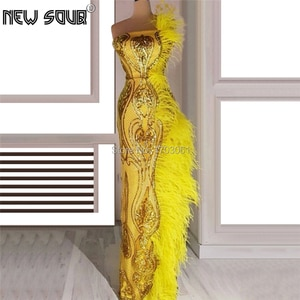 Shiny Feathers Sequins Evening Dresses 2019 Strapless Couture Dubai Long Prom Dress Turkish Islamic Party Gowns Robe De Soiree