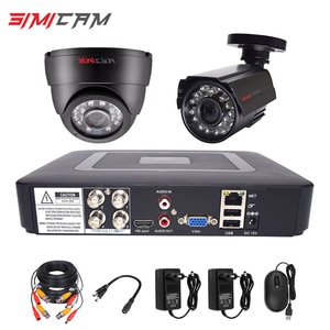 4CH DVR CCTV Video Surveillance Set AHD Analog Cameras Kit 2Pcs  Dome Bullet Infrared 1080P 2MP 6in1 DVR Security Camera System