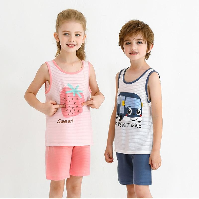 Комплект для семьи, летний комплект одежды для маленьких мальчиков, хлопковая одежда для сна для девочек и детей, комплекты из 2 предметов, Мультяшные Повседневные детские пижамные комплекты