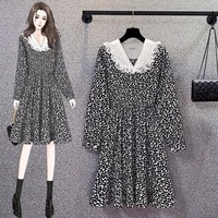 floral lace long sleeved midi plus large size oversize korean fashion kawaii womens elegant dresses autumn 2021 clothing