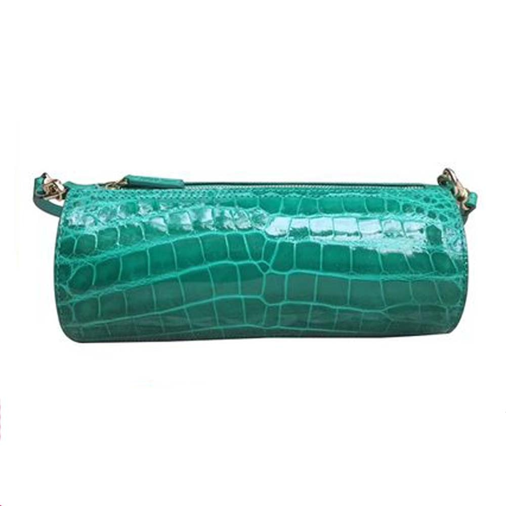 Yongliang-حقيبة كتف نسائية أسطوانية ، حقيبة كتف نسائية عصرية مع جلد تمساح لامع