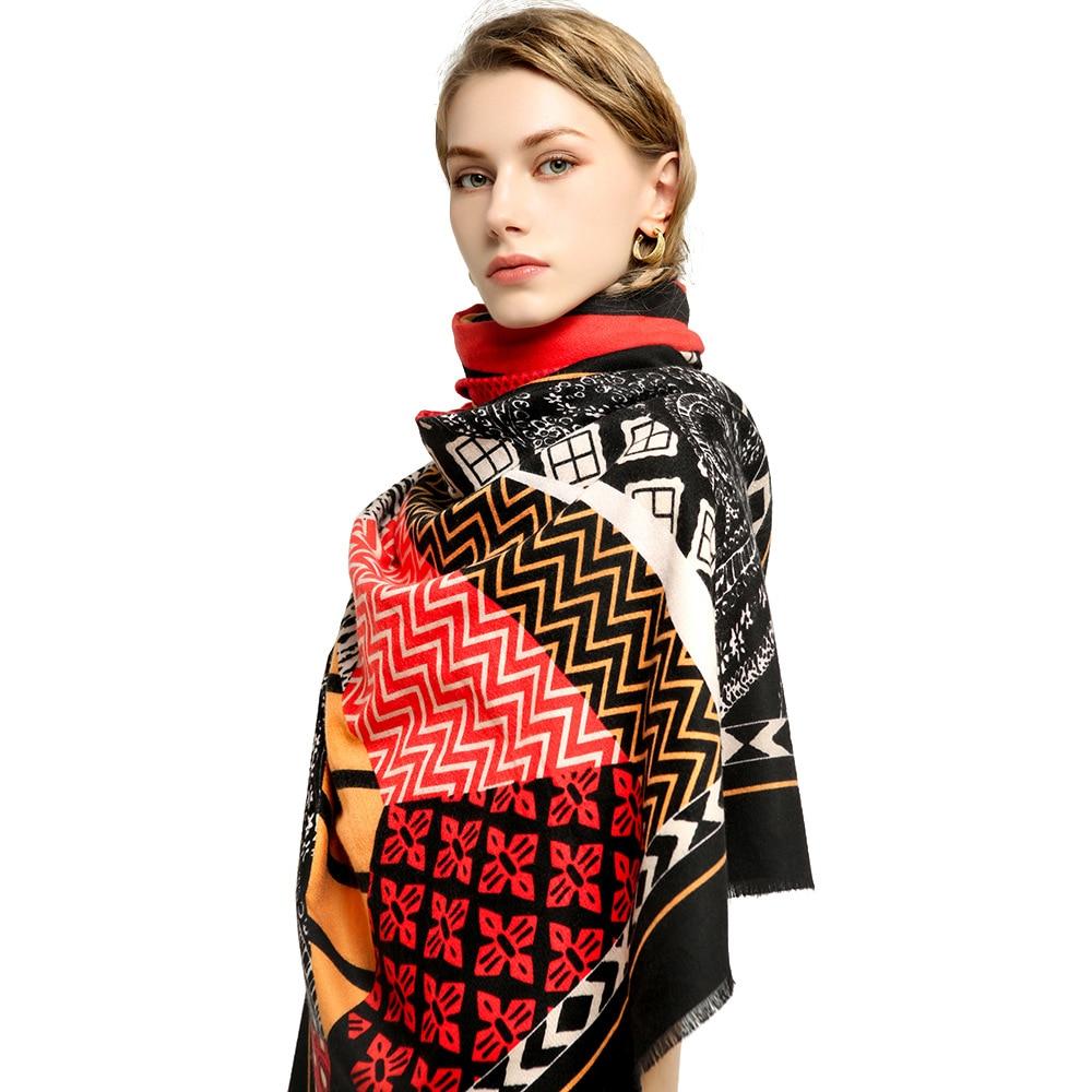 وشاح المرأة عالية الجودة القطن الكشمير سميكة الطباعة هندسية الخريف والشتاء وشاح دافئ