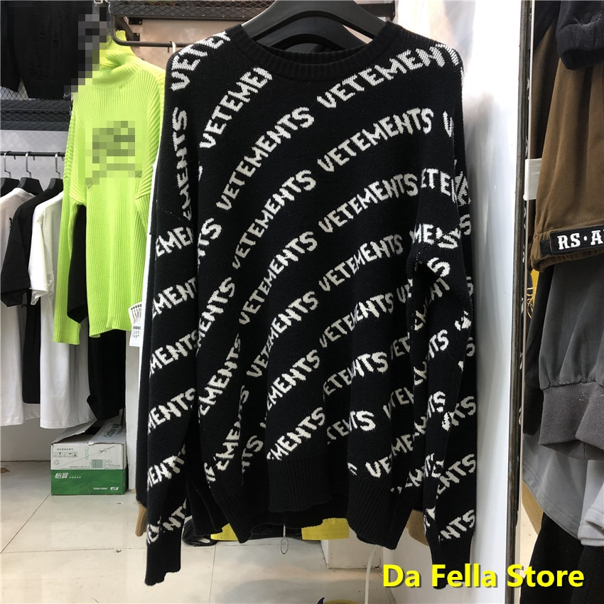 Vetements preto allover logo sweatshirts 2020 masculino feminino vetements crewneck hoodie eua tamanho material grosso vtm hoodies dentro tag