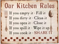 kitchen rules retro metal tin sign plaque poster wall decor art shabby chic gift