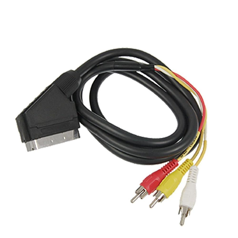 21Pin Adaptor Scart AV negro 3 salida RCA compuesto S-Video en/conmutador de...