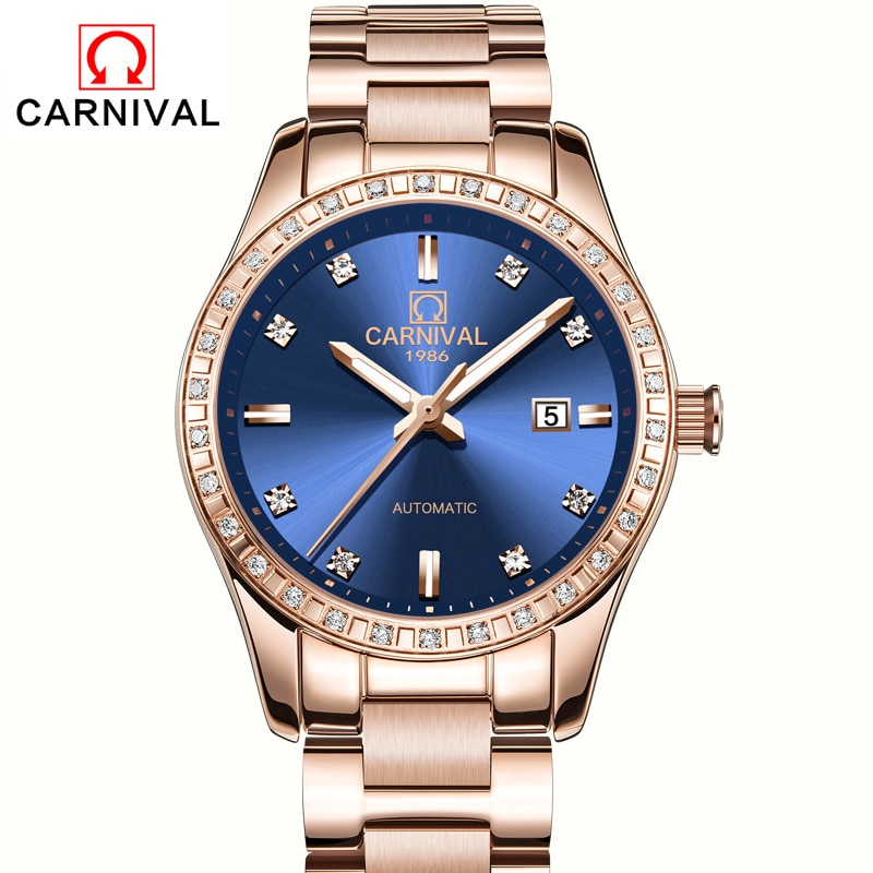 CARNIVAL Brand Ladies Fashion Watch Luxury Casual Waterproof Luminous Automatic Mechanical Watches For Women Clock Reloj Mujer enlarge