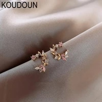 korean new design fashion jewelry exquisite copper inlay color zircon flower leaf garland women earrings birthday gift