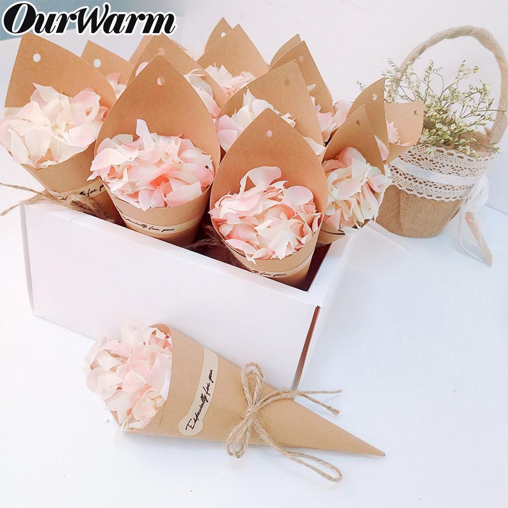 OurWarm 50pcs Wedding Confetti Kraft Paper Cones Black and Khaki Vintage Rustic Confetti Cone Hanging DIY Backdrop Decoration