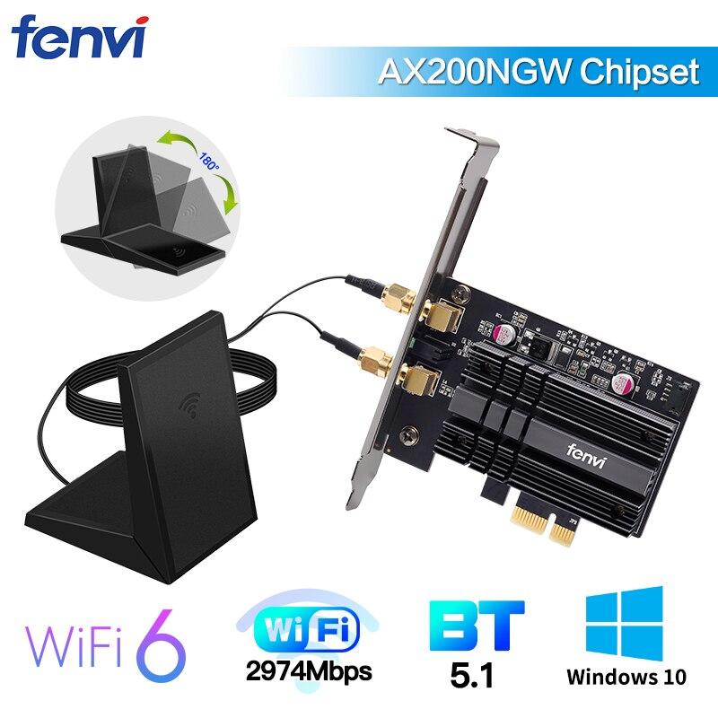 ثنائي النطاق 2400Mbps لاسلكي PCI-E واي فاي محول واي فاي 6 إنتل AX200 لبلوتوث 5.1 802.11ax 2.4G/5Ghz AX200NGW بطاقة حاسوب شخصي مكتبي