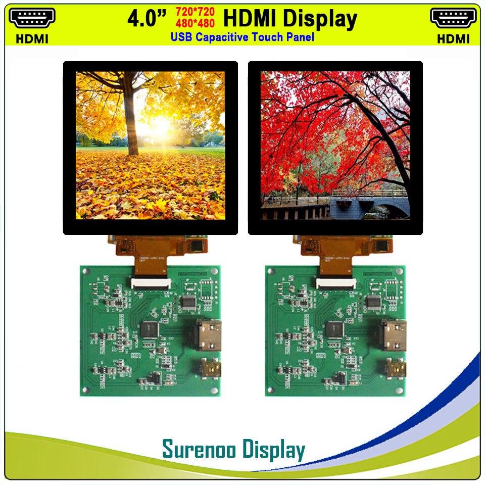 """4,0 """"720X720/480X480 11 HDMI a MIPI IPS LCD para pantalla de Monitor con USB Panel táctil capacitivo"""