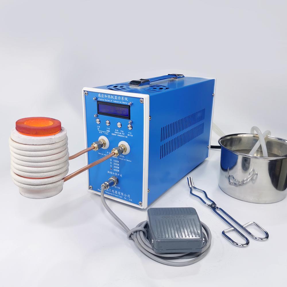 6000 واط ZVS جهاز تسخين حثي ماكينة حرارة التوجيه فرن صهر المعادن عالية التردد لحام معدات تبريد المعادن
