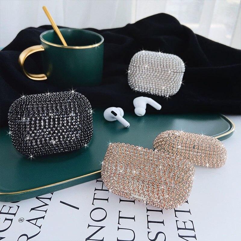 Funda de lujo para auriculares Airpods pro, cubierta para auriculares inalámbricos con brillantes cristales y brillos, funda para Airpods de chica