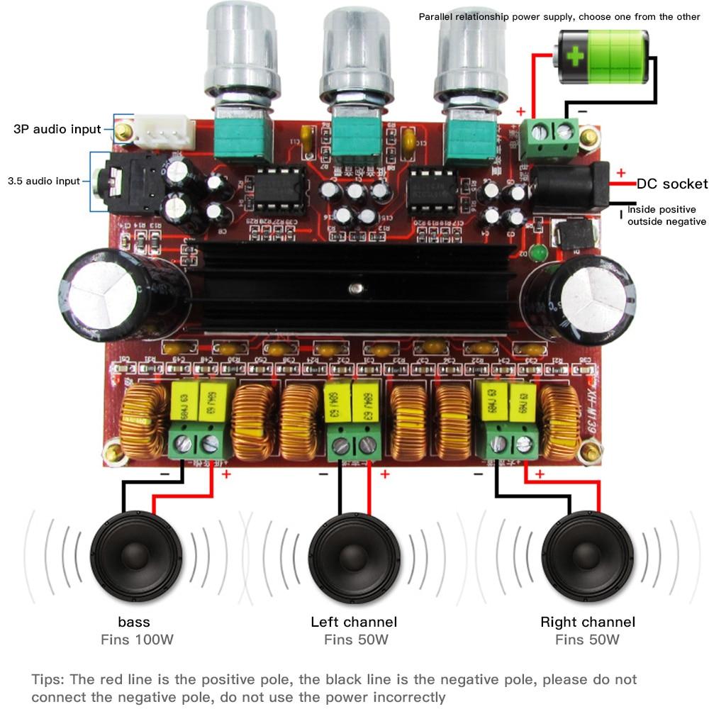Placa amplificadora de potencia Digital 2,1 canales 2*50W + 100W ESTÉREO potencia Audio Clase D bajo Subwoofer amplificador H