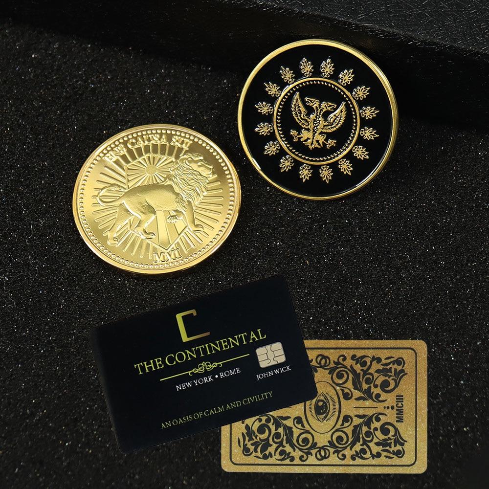 John Wick Movie Gold Coin Cosplay Continental Hotel Card Adjudicator Black Medallion Keanu Reeves Fa
