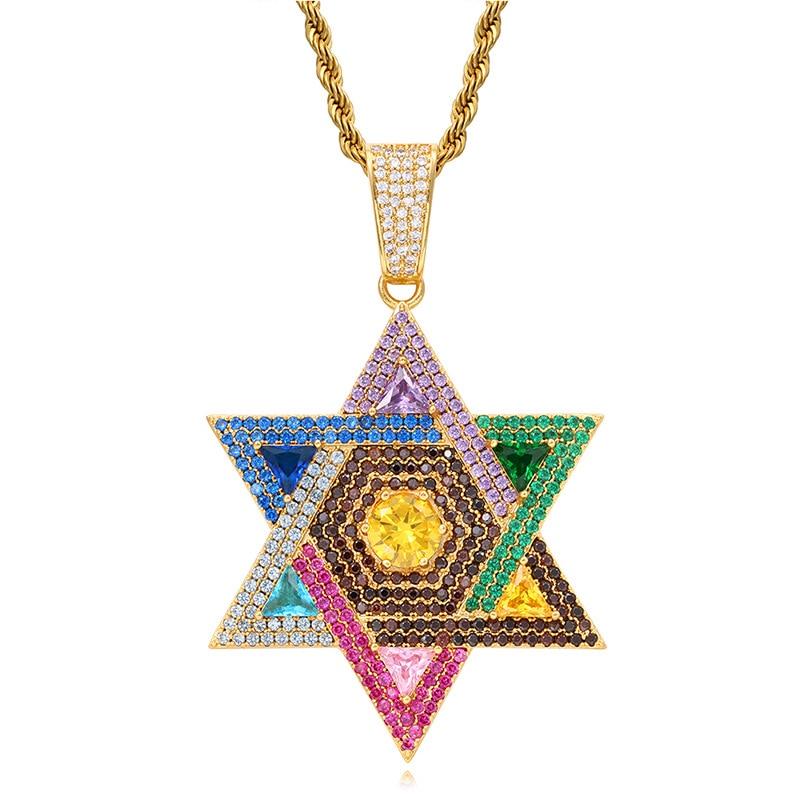 قلادة مع قلادة من الزركون للرجال والنساء ، مجوهرات يهودي ، دافيد ستار