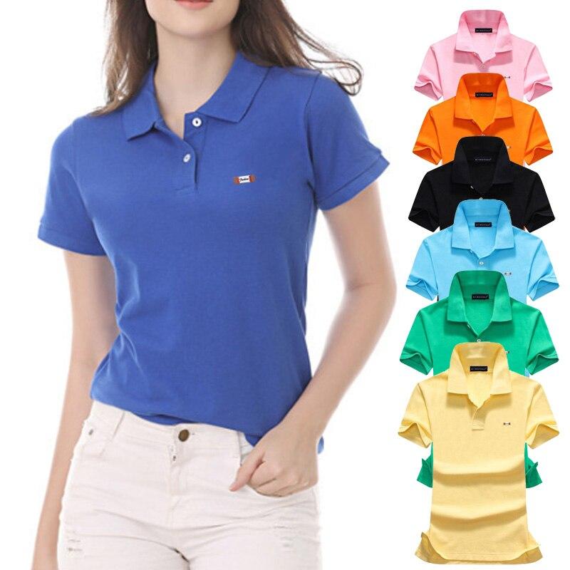 Fashion 2020 Summer  Womens short sleeve polos shirts High-quality casual 100% cotton lady lapel polos shirts Female slim tops