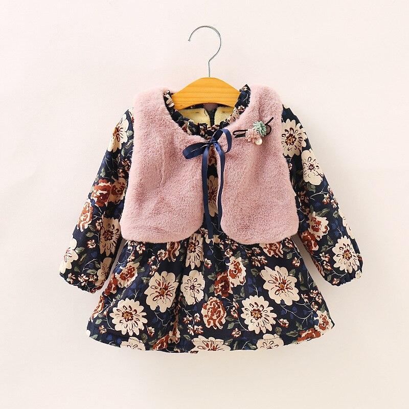 2020 Stylish Autumn Winter Princess Baby Girls Clothes Sets Floral Plaid Print Ruffles A-Line Dress+Fur Vest Coat 2pcs