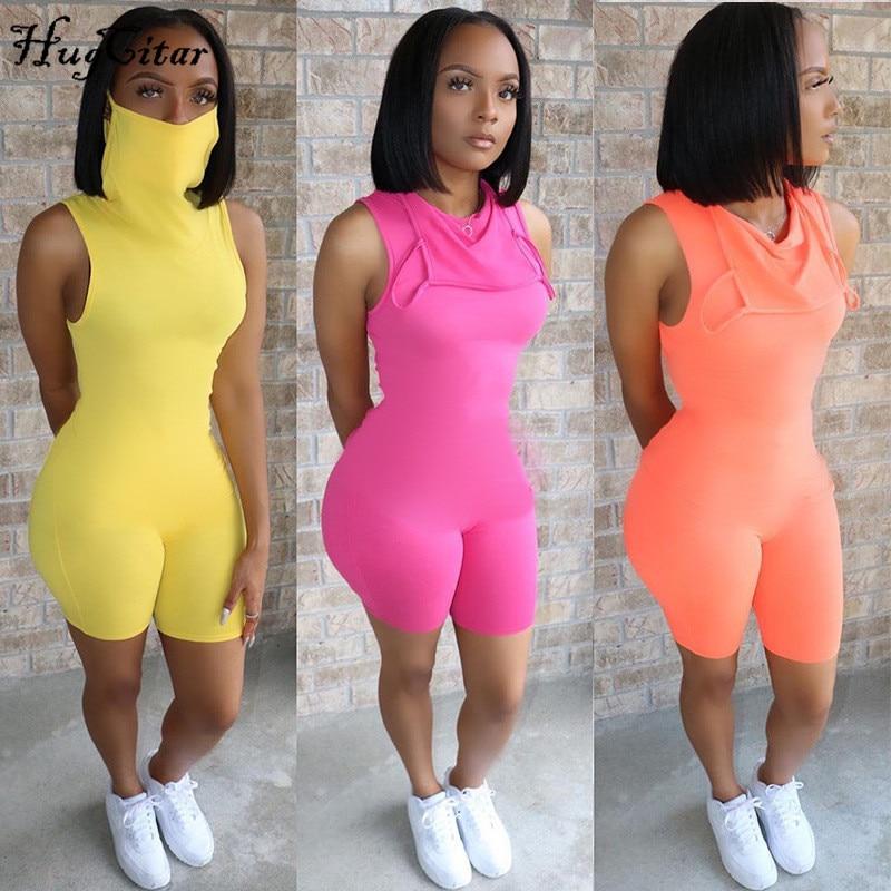 Hugcitar 2020 sem mangas sexy bodycon playsuit com máscara de verão moda feminina streetwear outfits macacão corpo
