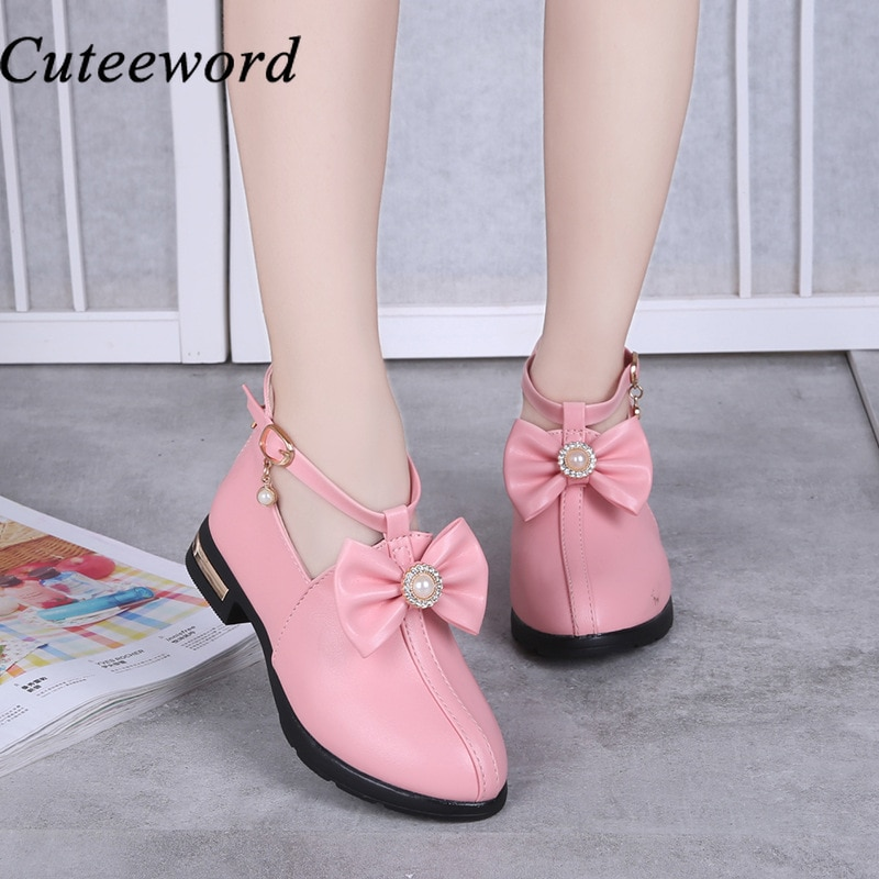 Children's Girl Leather Shoes Kids Princess Style Spring and Autumn New Fashion Big Children Casual Single Shoes Black Pink Red