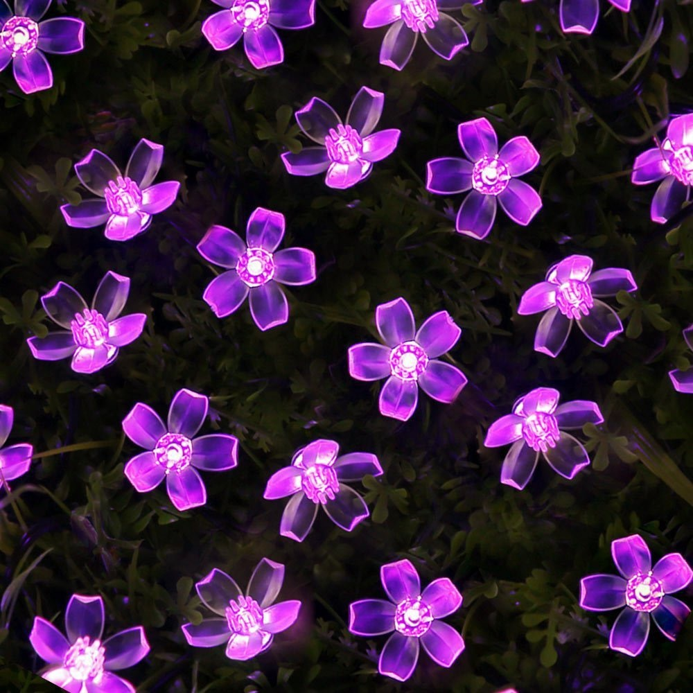 Cherry Blossom Garland Lights Battery Powered LED String Fairy Lights Crystal Flowers for Indoor Wedding Christmas Decors Purple 3m globe led garland starry crystal wishing ball string lights decors for curtains bedroom living room balcony christmas wedding