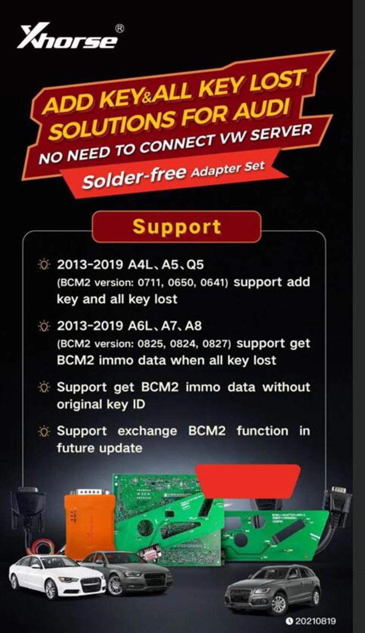 Xhorse BCM2 Solder-free Adapter Set For Audi Add Key and All Key Lost Solution Work With VVDI2 +VVDI Prog And VVDI KeyTool Plus
