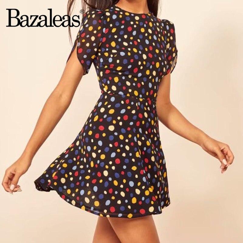 Vestido de manga corta de gasa de Francia para mujer vestidos de mujer con estampado de puntos coloridos Vintage ajustados