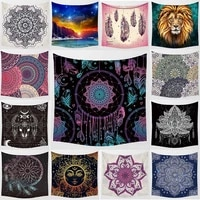 beauty purple mandala moon lion wall art tapestry background wall decoration square polyester peach skin wall hanging tapestry