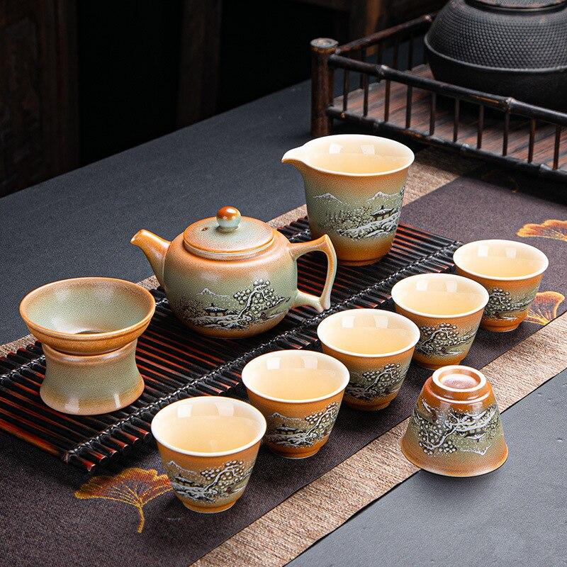 طقم الشاي السيراميك الصينية الكونغ فو تيست إبريق الشاي المنزل والمكتب الشاي مع صندوق تيست جيوان أكواب شاي حفل الشاي