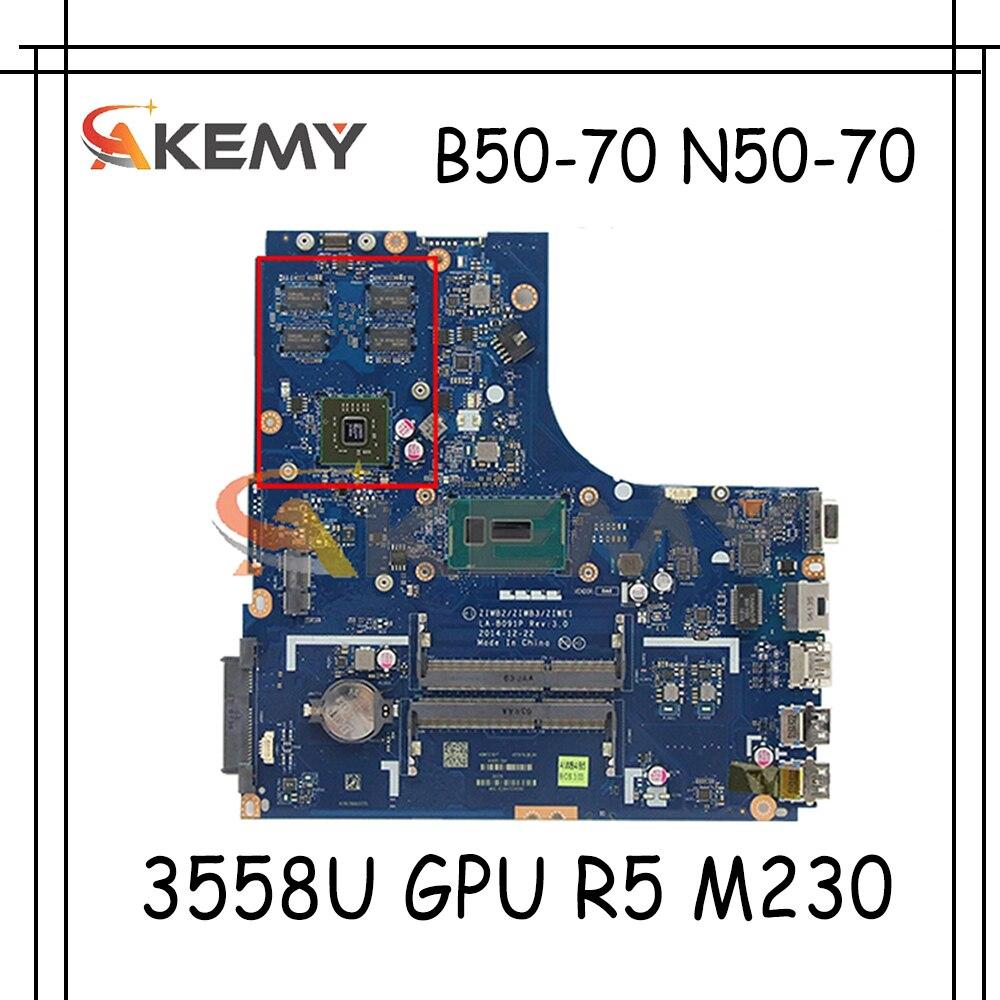 Akemy ZIWB2 / ZIWB3 / ZIWE1 LA-B091P هو مناسبة لينوفو B50-70 N50-70 اللوحة المحمول وحدة المعالجة المركزية 3558U GPU R5 M230 100% اختبار