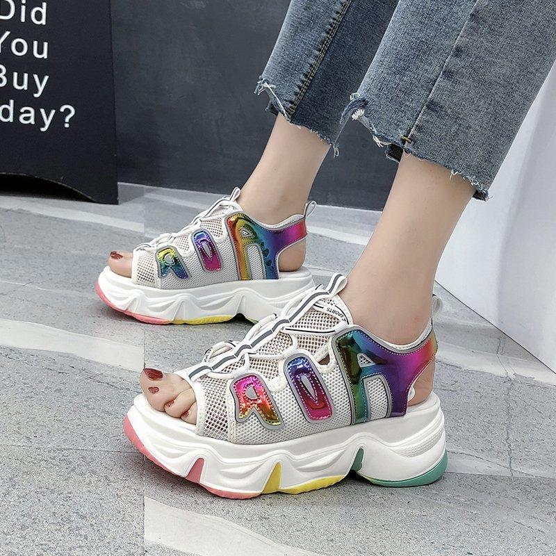 ¡Moda 2020! Nuevas Sandalias de plataforma para Mujer, Sandalias sexis de verano con suela abierta, zapatos de cuña para Mujer, Sandalias transpirables cómodas para caminar