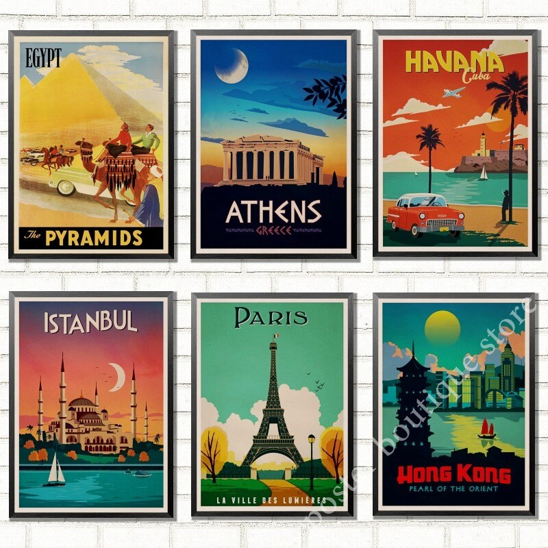 Афины, Стамбул, Египет, Аруба, Гавана, Parls, винтажный Ретро-пейзаж из путешествия постер декоративная стена крафт-бумага постер домашний декор