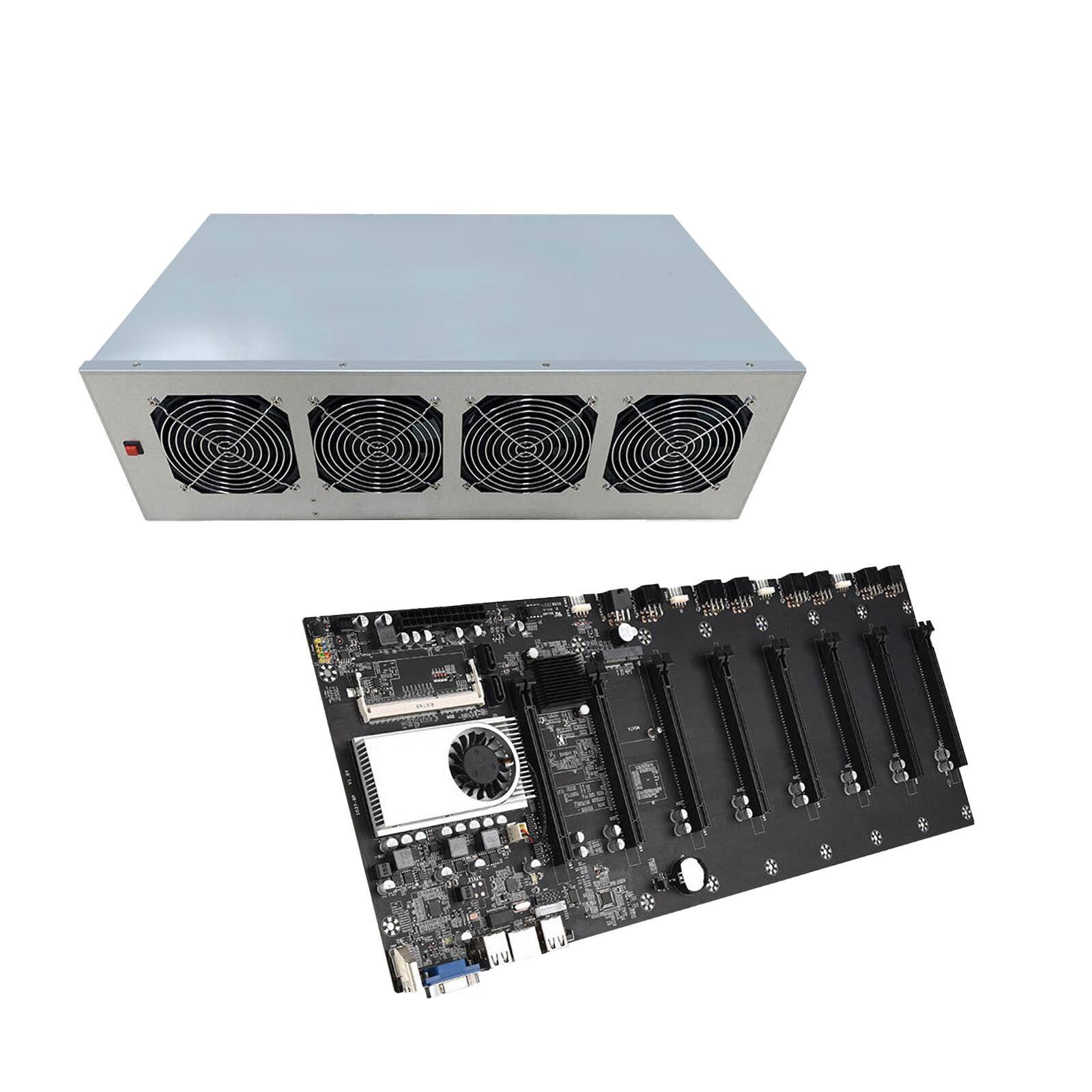 8GPU видеокарта BTC-T37 добыча материнская плата VGA 8PCIE 16X Поддержка 1066/1333/1600 МГц DDR3/DDR3L Майнер Motherbaord + коробка