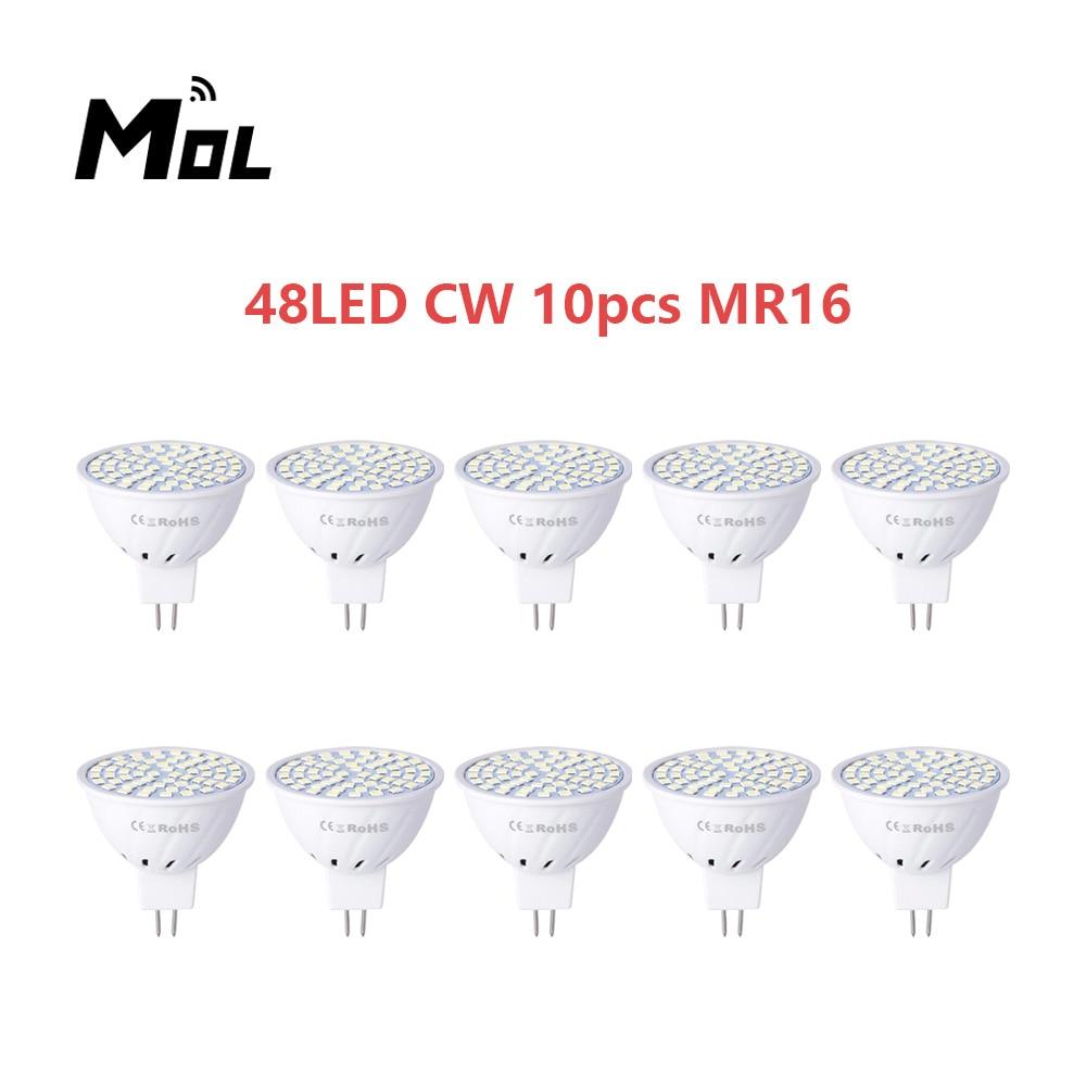 Lâmpada Led Copo Spotlight 48led Luz Lustre Substituir Halógena Mol Mr16 220v 10 Pçs