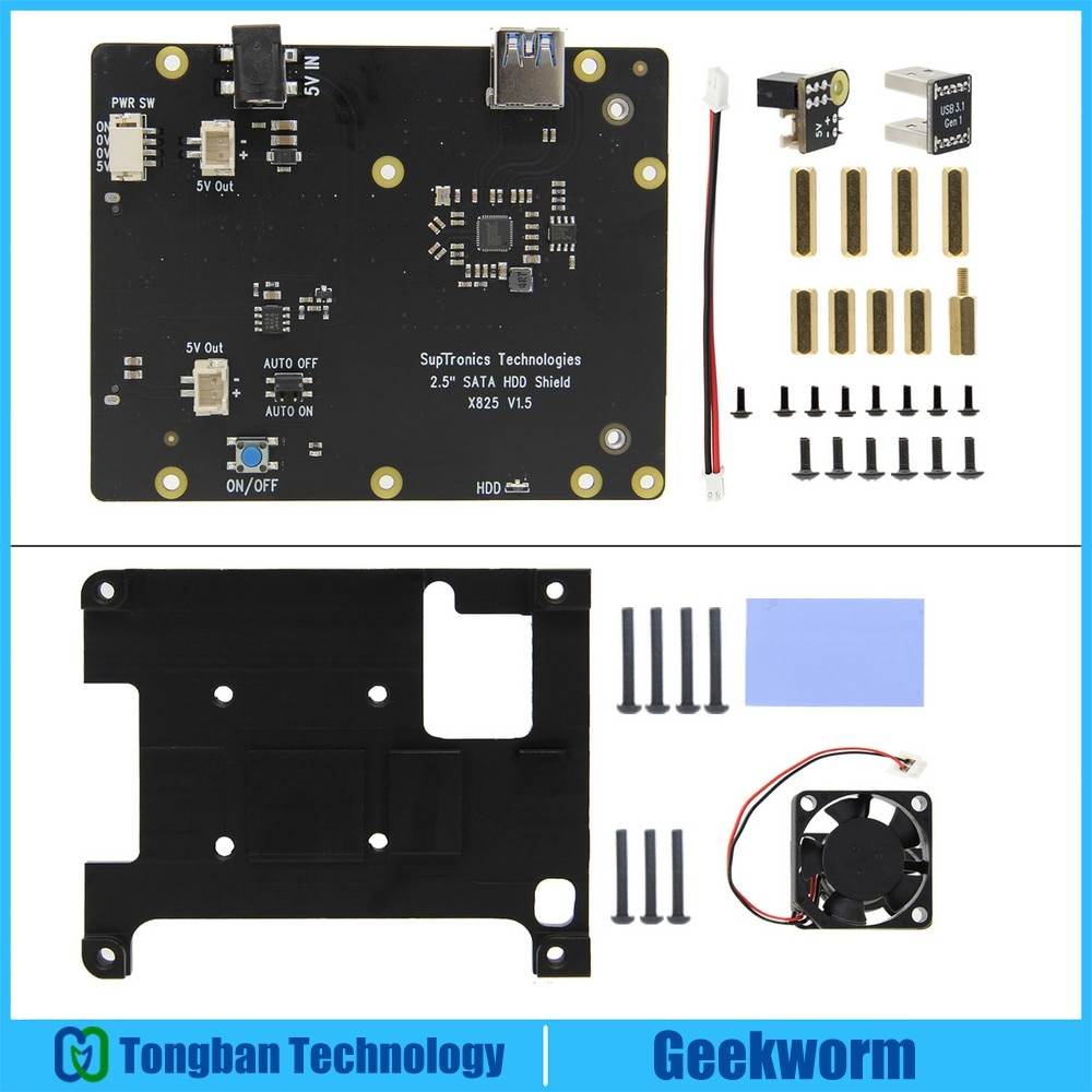 Placa de expansão raspberry pi 4 x825, 2.5 polegadas sata hdd/ssd, com dissipador de calor incorporado com ventilador para raspberry pi 4 modelo b