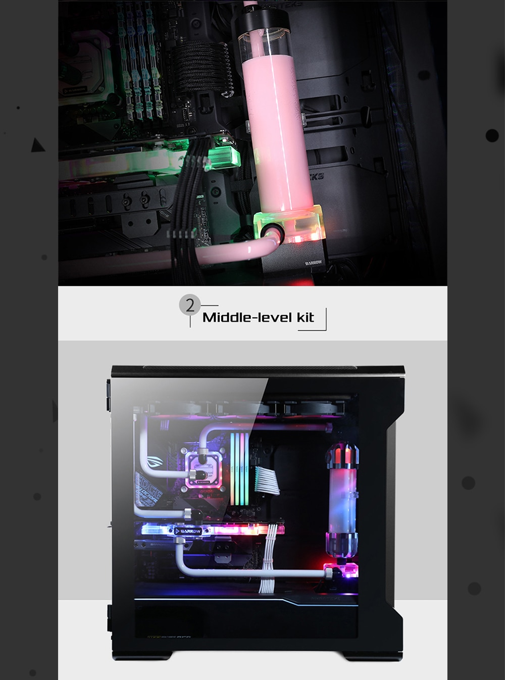 Barrow NK01 Water Cooling Kit With 5v 3pin Lighting , 2021 New High Quality Complete Loop , 360 Radiator , CPU Block , ReservoirBarrow YR01, Hardtube CPU WaterCooling Kits, 240mm Radiator, CPU Block, 130mm Reservoir, for CPU cooling AM3/AM4/115X/2011Hardtube CPU WaterCooling Kits,240mm Radiator WaterCooling Kits,Barrow YR01 WaterCooling