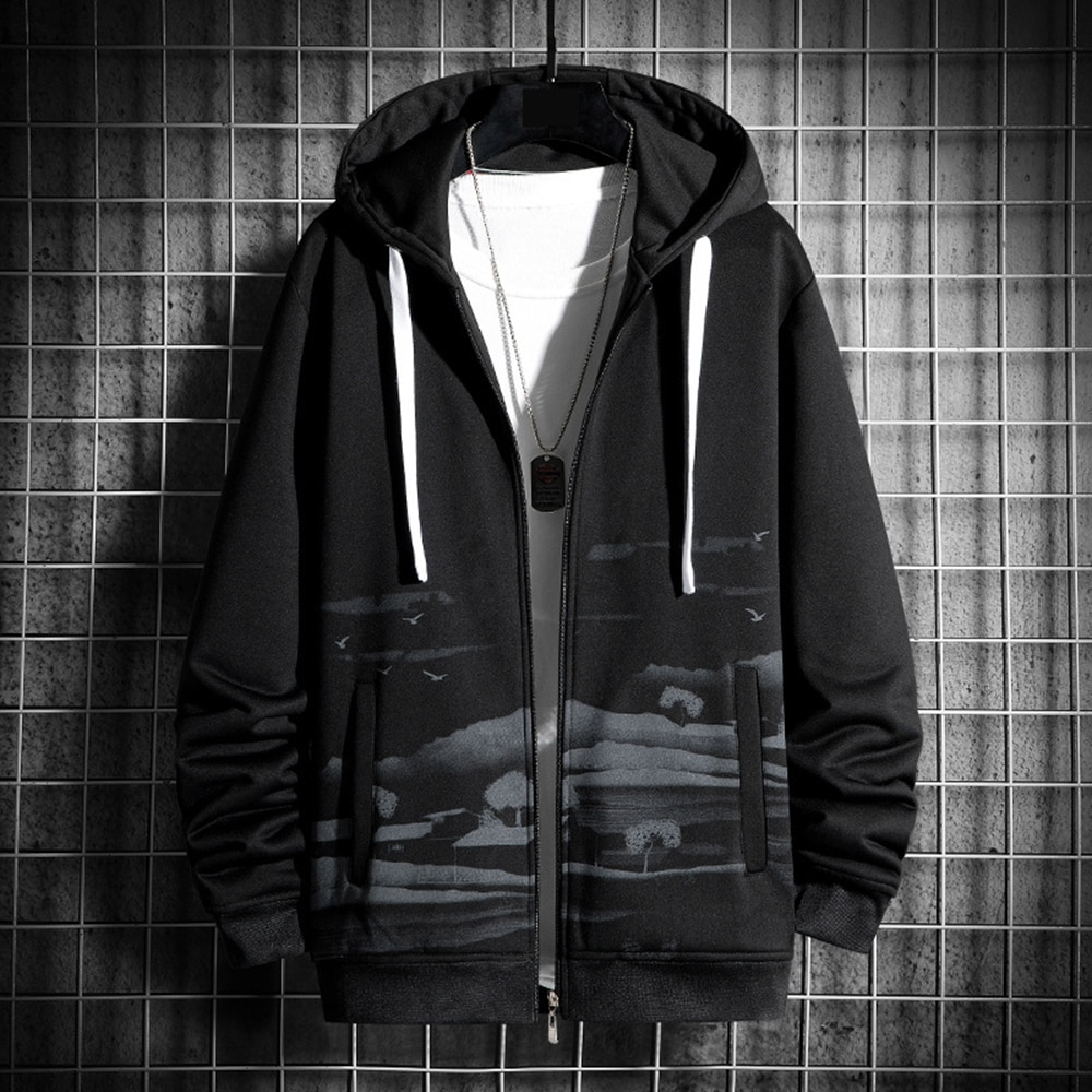 Мужская толстовка с капюшоном, черная Повседневная Спортивная кофта с круглым вырезом в стиле ретро, молодежная брендовая одежда, весна-осе...