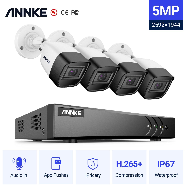 Система видеонаблюдения ANNKE H.265 5 в 1, 8 каналов, 5 МП, DVR, 4 цилиндрических камеры 5 МП, аудиозапись, система безопасности, комплект видеонаблюден...