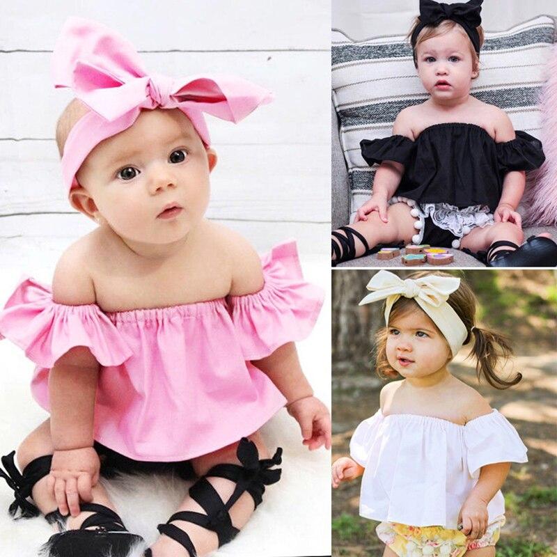 Pudcoco, camisas para recién nacidos, camiseta para niñas, sin hombros, blusa corta, ropa de verano infantil, Tops, ropa bonita